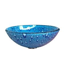 bowls blue glass bowl drips pattern thick round bathroom sinks vintage cobalt