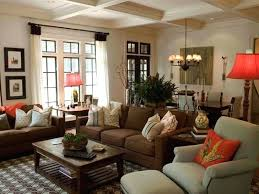 living room decor with dark brown