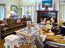 animal print decorations for living room with zebra rug and traditional fireplace design including brown leather decorating ideas leopard decor de