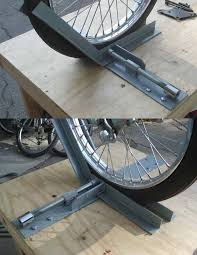 motorcycle wheel chock by pstick homemade motorcycle wheel chock fabricated from flat bar and