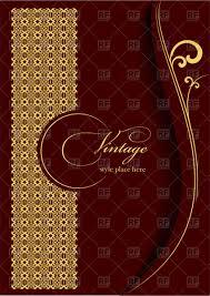 Elegant Invitation Cards Elegant Gold Ornament On Burgundy Background Template For Brochure Or Invitation Card Stock Vector Image