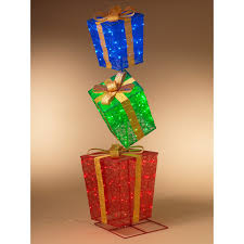 Lighted Stacked Christmas Gift Boxes Gerson International 3 Stacked Lighted Outdoor Gift Box