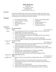 Resume Examples For Nanny Position Examples Of Resumes