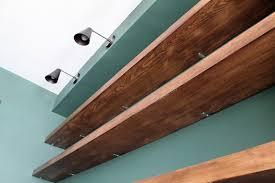 Making Floating Shelves DIY Solid Wood WalltoWall Shelves Chris Loves Julia 79