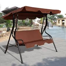 garden swing chair patio 3 seater metal hammock swinging canopy bench lounger coffee