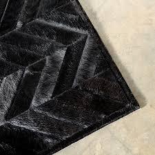 black cowhide rug contemporary yves herringbone pattern material within 12