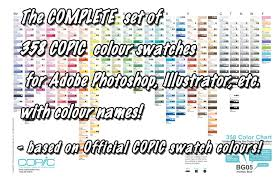 Copic Swatch Chart Copic Complete 358 Colour Swatches With Names By D Signer On