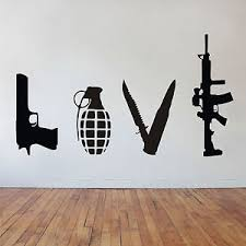 image is loading banksy wall art sticker love weapons gun grenade  on banksy wall art sticker with banksy wall art sticker love weapons gun grenade knife rifle ebay