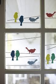 Fenster Deko Vögel Auf ästen Aus Tonpapier Fensterbilder