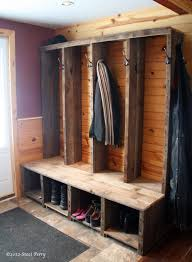 Reclaimed wood constructed into rustic entryway bench  Reclaimed barn wood entryway  bench | Random Sweetnessbaking