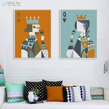 2019 Modern <b>Abstract Poker King</b> Queen Couple Love Poster Print ...