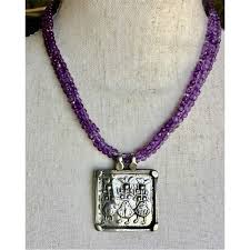 amethyst bead necklace with silver