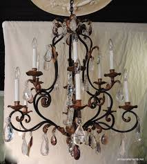 belle Époque beautiful large wrought iron gilt chandelier with amethyst rock crystals