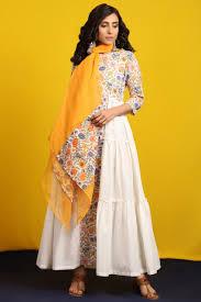 Kota Doria Suits Designs Floral And White Tiered Kurta Set With Kota Doria Dupatta In