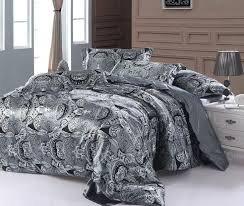 paisley bedding set super king size queen double silver grey satin