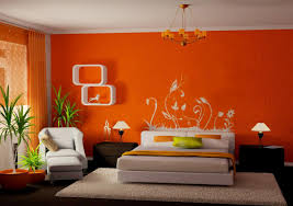 orange bedroom furniture. Orange Wall Paint Color For Cozy Bedroom Layout With White Shelve And Extra Large Rugs Furniture E
