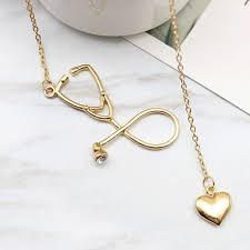 detail gambar women nurse doctor medical stethoscope heart collar chain necklace necklaces pendants collares mujer terbaru