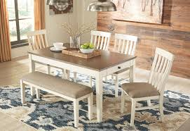 Bardilyn Antique Whitebrown 6 Pc Rect Drm Table 4 Uph Side