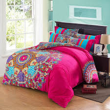 hot pink aqua purple and orange colorful exotic indian tribal print folklore pattern southwestern 100 cotton full queen size bedding sets