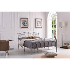 Hodedah Silver Queen-Size Metal Panel Bed with Headboard and Footboard