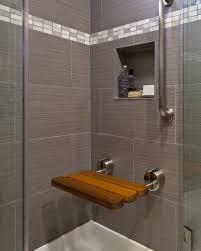 Elegant Gray Bathroom Wall Tile Plus Square Niche For Soap With Perfume Idea  Also Ultra Modern ...