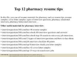 Pharmacists Resumes Top 12 Pharmacy Resume Tips