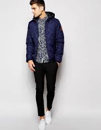 Lyst - Blend Quilted Hooded Jacket in Blue for Men & Gallery Adamdwight.com