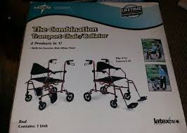 medline the bination transport chair rollator 2 s in 1 red 250lbs