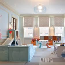 ... Large Size Room For The Kids Among Grey Carpet White Table Colorful  Chairs Ceiling Also Curve ...