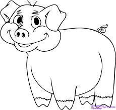 how to draw a cartoon pig