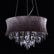 captivating drum chandelier shades black canvas and genuine crystal medium