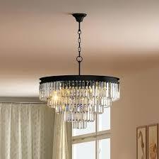 odeon chandelier 5 tier crystal glass fringe chandelier flush mount ceiling chrome lighting rectangular chandelier industrial