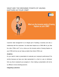 What Are The Brownie Points Of Having Kapture Crm For
