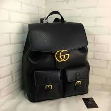 gucci black cowhide leather backpack