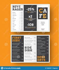 Tri Fold Menu Template Design Of A Trifold Menu For Cafes And Restaurants With