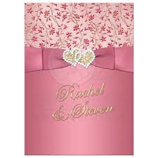 great blush pink dusty rose gold floral wedding invite with joined jewel and glitter rose pink i86