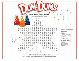 New Years Word Search Dum Dums Printable