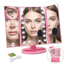 ceenwes makeup mirror trifold vanity mirror 180 adjule touch screen cosmetic mirror with 21 led lights lighted makeup mirror with 4 magnify 10 3 2 1x