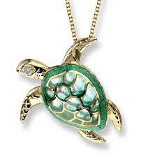 18ct gold turtle diamond plique necklace