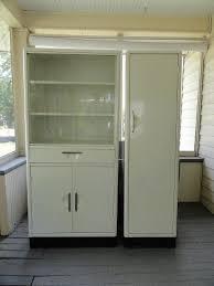 2 vtg 1950 s artcrest metal kitchen cabinets white gl hutch antique pantry