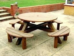 round wood outdoor table. Delighful Wood Round Wooden Outdoor Table 8 Garden Picnic  And Chairs Intended Round Wood Outdoor Table O