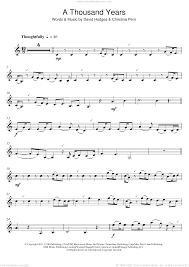 As a digital notation file for piano/keyboard and voice in d minor (transposable). Perri A Thousand Years Sheet Music For Clarinet Solo Pdf