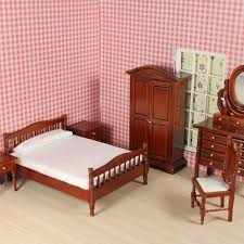 dollhouse furniture 1 12 scale. lot 6 bed room set miniatures bedroom suite dollhouse furniture wooden double 112 1 12 scale