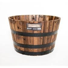 real wood 26 in dia cedar half whiskey barrel planter