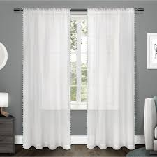 ati home sheer bordered pom pom rod pocket window curtain panel pair