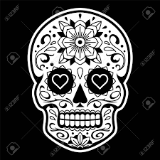 Vector Mexican Skull With Patterns Old School Tattoo Style Sugar