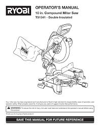 Ryobi Ts1341 Users Manual Manualzz Com