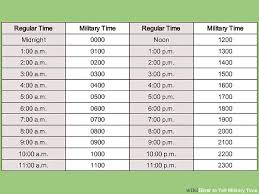 Standard Military Time Conversion Chart What Is 2200 In Regular ...