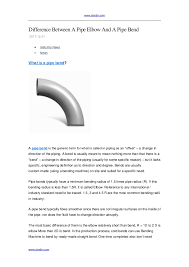 Difference Between A Pipe Elbow And A Pipe Bend