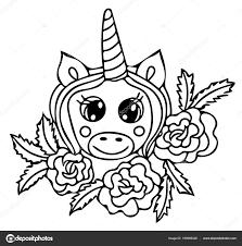 Unicorn Zwarte Lijn Geïsoleerd Magisch Leuk Dier Vectorillustraties